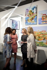 Rtist Gallery Opening with Sarah Jane Muscat, Monica Adams, my daughter Eden and myself. 2013. Photo by Martina Gemmola
