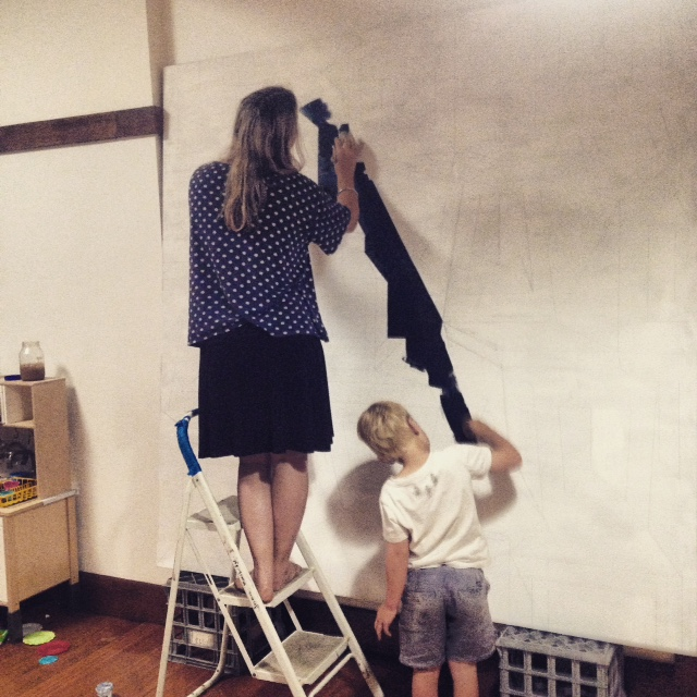 "Working on ""Who is the us, and who is the them"" with my son Jack doing some fill in. 2015"